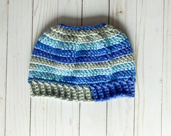 """Shades of Blue and Gray Handmade Messy Bun Ponytail Crocheted Beanie Hat Chunky """"Knit"""" Cute and Fun Winter Accessory"""