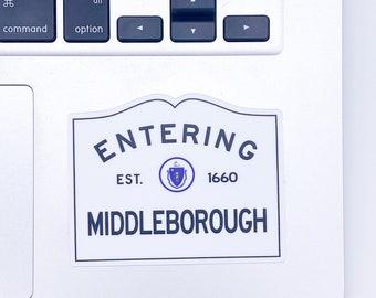 Entering Middleborough Massachusetts Town Sign Sticker