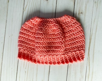 """Salmon Color Handmade Messy Bun Ponytail Crocheted Beanie Hat Chunky """"Knit"""" Cute and Fun Winter Accessory"""