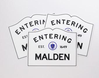 Entering Malden Massachusetts Town Sign Sticker