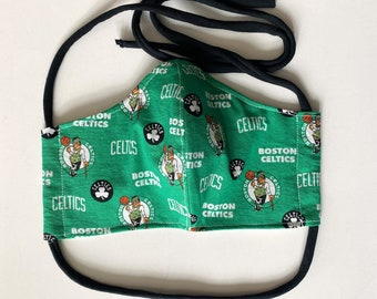 Celtics Basketball Fan Double Layered 100% Cotton Face Mask With Pocket For Filter Insert And Removable Nose Wire