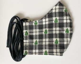 Christmas Tree Plaid Double Layered 100% Cotton Face Mask With Pocket For Filter Insert And Removable Nose Wire
