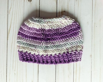 """Shades of Purple Gray and Cream Handmade Messy Bun Ponytail Crocheted Beanie Hat Chunky """"Knit"""" Cute and Fun Winter Accessory"""