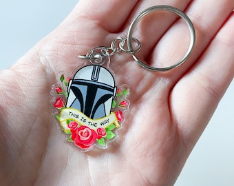 Helmet and Roses This is The Way Mando Acrylic Fan Art Keychain