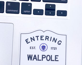 Entering Walpole Massachusetts Town Sign Sticker