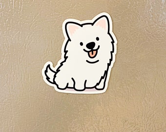 Adorable Happy Cute Smiling Samoyed Magnet