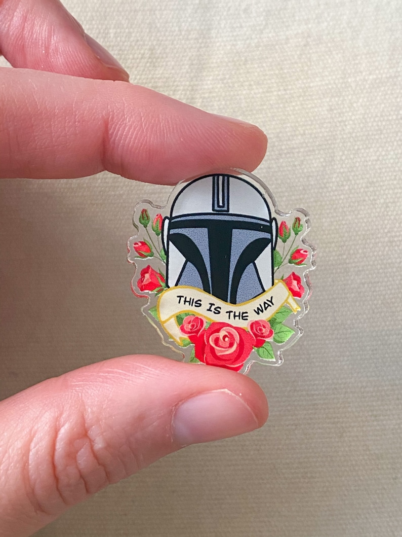 Helmet and Roses This is The Way Mando Acrylic Fan Art Pin ...