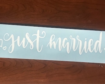 Just Married Car Decal - White Vinyl - Free Shipping