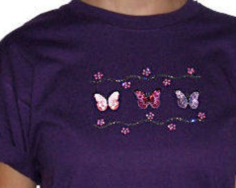 b08032ee Sequin Embroidered Butterflies Butterfly Unique Custom Women's Cute Fun  Glitter Cool Bling Unisex T shirt Cindy's Handmade Shirts Boutique