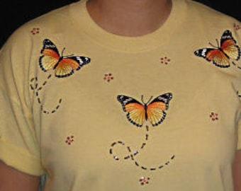 a882099c8 Embroidered Monarch Butterflies Butterfly Unique Custom Women's Cute Fun Glitter  Cool Bling V-neck T shirt Cindy's Handmade Shirts Boutique