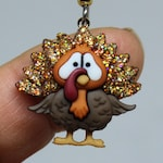 Thanksgiving Fall Autumn Turkey Earrings Worried Turkey Gobble Earrings Glittered and Bling