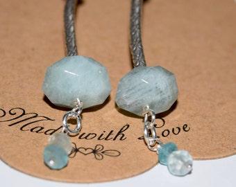 Long Aquamarine Earrings~ Aquamarine and Sterling Silver Earrings~ Birthstone Earrings~ Aquamarine