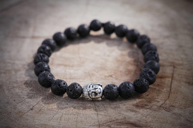 Limited Supply Light Weight Volcanic Lava Stone Buddha Bracelet