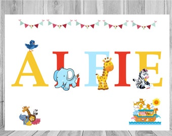 Personalised Name Art Print Noah/'s Arc Zoo Baby Christening Birthday Nursery