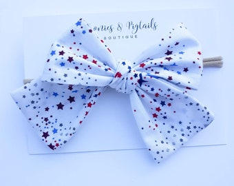 Symbol Of The Brand Handmade 4 Inch Hair Clip Bow Blue Red Green Stripes Clothes, Shoes & Accessories