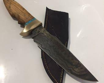 Damascus hidden tang Bowie knife