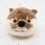Otter Pom Pom Keychain, Animal Pom Pom, Otter Keychain, Otter, Otter Brooch, Pom Pom Keychain, Felted Animals, Pet Memorial, Pet Loss Gift