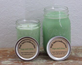 Soy Candle/ Sage and Citrus/ Mason Jar Candle/ Yankee Candle Duped Scent/ Spring Scent/ Clean Scent/ Lemon Scent
