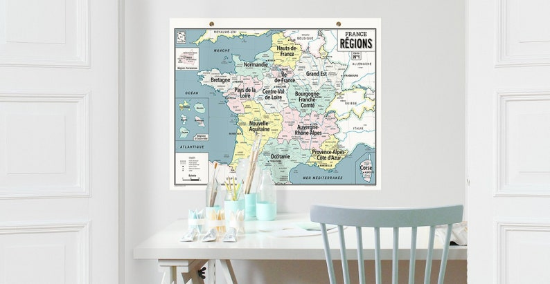 France regions wall map in 2020 style vintage school map image 0