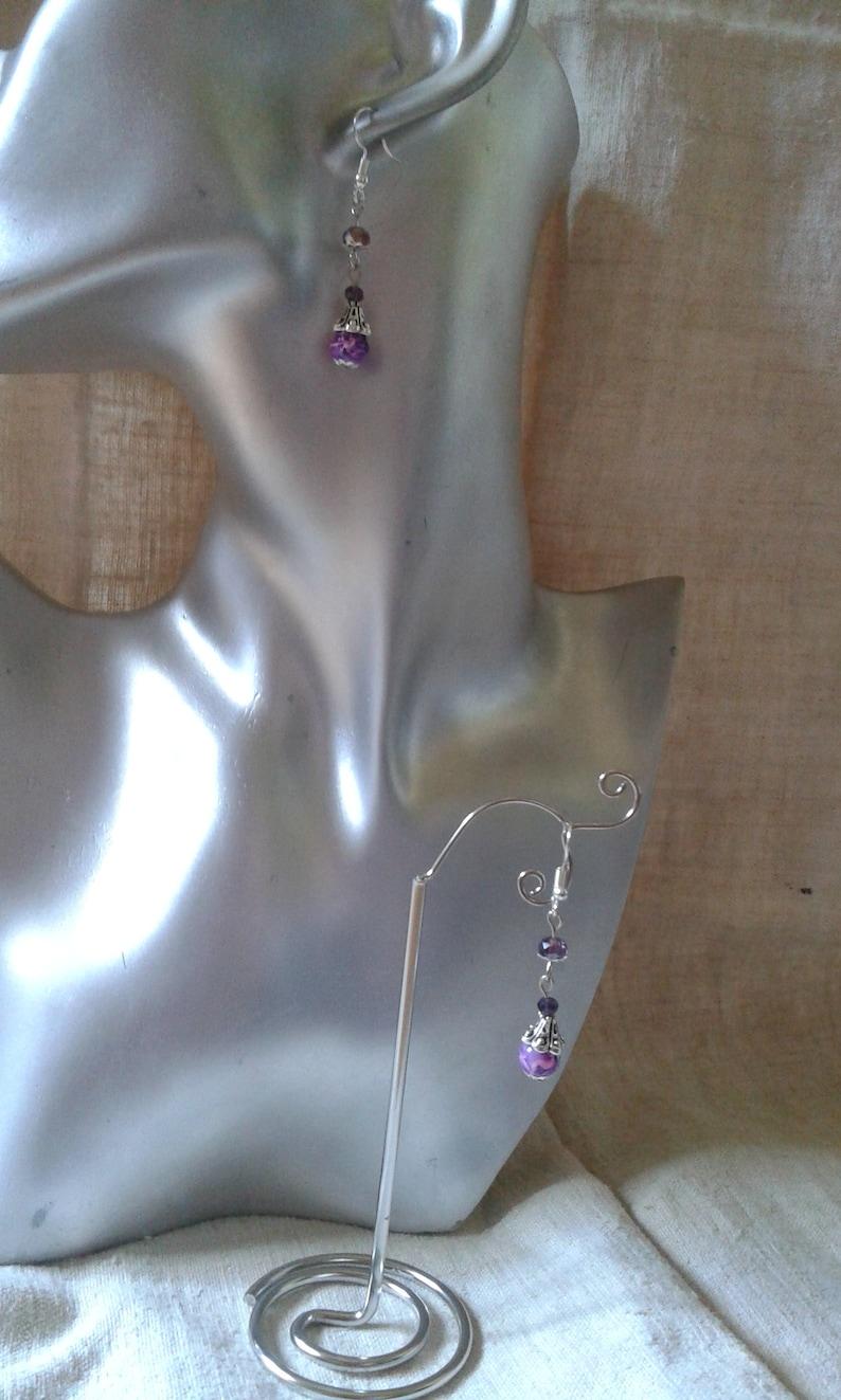 trio of purple pearl earrings