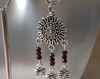 """Earrings """"connector flower and purple beads"""""""