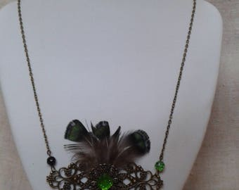 "necklace ""print and pheasant feathers"""