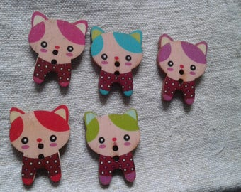 """set of 10 """"cats"""" multicolored buttons, wooden"""