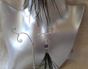 "Earrings ""strands of peacock feathers"""