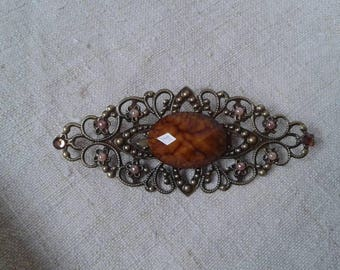 brooch made of bronze and Brown marbled cabochon