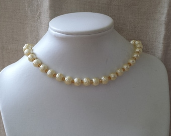 """""""yellow and ivory pearls"""" Choker necklace"""