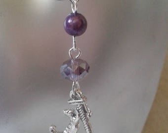 """""""Purple beads and silver cat"""" earrings"""