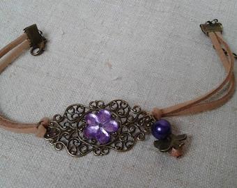 """large print and purple flower"" bracelet"