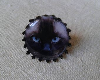 """ring """"cabochon Siamese cat"""""""