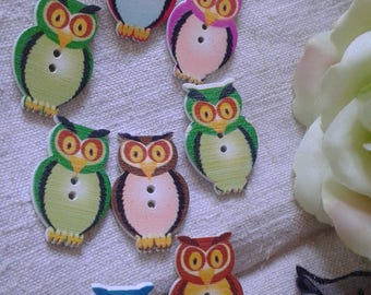 """set of 10 """"owls"""" multicolored buttons, wooden"""