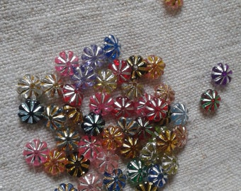 set of 50, multicolored, acrylic flower beads