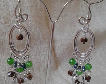 """duo of Brown and green"" earrings"