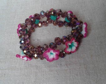 pretty bracelet beads and pink flowers