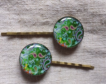"set of 2 ""green cabochons"" strips"