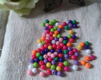 set of 50 multicolored opaque beads