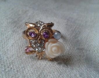 little owl, flower and rhinestone ring