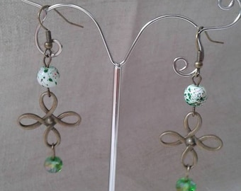 "Earrings ""beads and bronze green"""