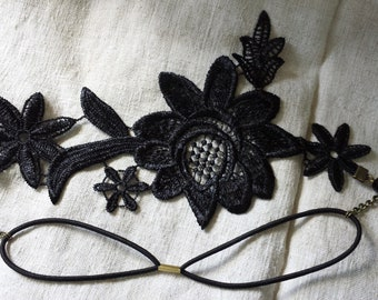 """headband """"Black Lace applique and pearls"""""""