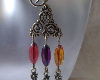 """""""triskel and multicolored pearls"""" earrings"""
