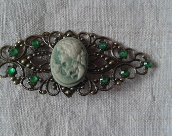 "brooch ""cameo and bronze green"""