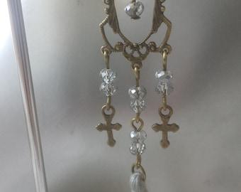 "Earrings ""beads and gray tassel"""