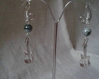 Pearl and silver guitar earrings
