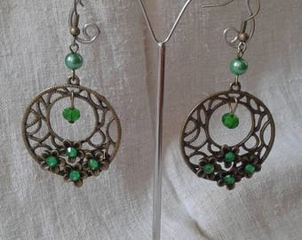 "Earrings ""bronze and green"""