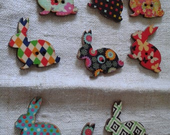 """set of 10 """"rabbits"""" multicolored buttons, wooden"""