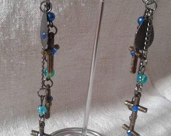 beads and bronze cross earrings