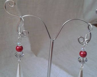 beads and silver tube earrings